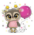 cute cartoon owl with balloon vector image vector image