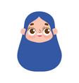 cute face girl expression facial long hair design vector image