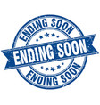 ending soon round grunge ribbon stamp vector image vector image
