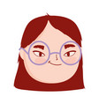 face young woman with glasses female character vector image vector image
