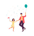 father with daughter dancing on family party vector image vector image