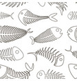 fishbone set pattern vector image vector image
