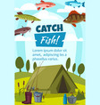 fishing and camping tent and fishes vector image