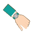 hand with smart watch timer technology vector image vector image