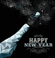 Happy new year champagne bottle low poly silver vector image