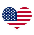 heart with the flag of america icon flat style vector image vector image