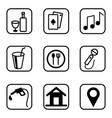hotel services icons set on white background vector image vector image