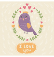 I love you card with a cute bird vector image vector image