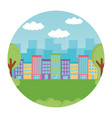 landscape city buildings trees grass round label vector image vector image