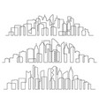 line art cityscape town buildings horizontal vector image