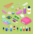 manicure and pedicure isometric tools vector image vector image