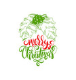 merry christmas lettering with hand drawn vector image
