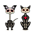 mexican day dead cat and dog skeletons vector image