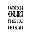 mexican words set adios ole fiesta hola vector image vector image