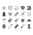 needlework black silhouette icons set vector image