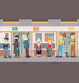 people in subway train car sitting standing and vector image vector image
