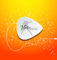 Pick guitar music design on orange background vector image vector image