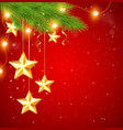 Red Christmas background with shining golden stars vector image vector image