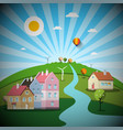 rural scene with houses and hill landscape with vector image vector image