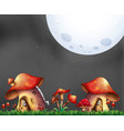 scene with two mushroom houses at night vector image vector image