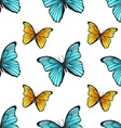 Seamless pattern with bright butterflies vector image