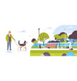 senior man walking with husky dog urban city park vector image vector image