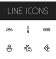 set of 6 editable cooking icons includes symbols vector image vector image