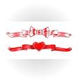 Set of red watercolor ribbons bows hearts vector image vector image