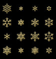 set of sixteen shine relief golden snowflakes vector image