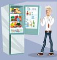 the man next to the fridge vector image