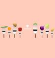 vegetables on forks on colorful background vector image vector image