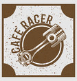 vintage grunge style piston with text cafe racer vector image vector image