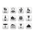 Wine buttons set - glass bottle restaurant food vector image vector image