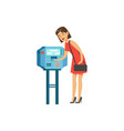 woman using automatic vending machine people vector image vector image