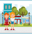 women couple on the park characters vector image vector image