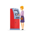 young woman using atm - cartoon people characters vector image