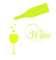 wine bottle with wineglass and sparkles vector image