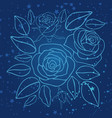 hand drawn blue roses and stars vector image