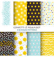 8 Seamless Patterns - Confetti and Polka Dot vector image
