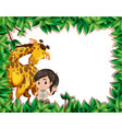 a girl with giraffe on nature frame vector image vector image