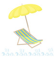 beach umbrella and sun lounger rest on the sea vector image vector image