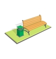 Bench in the park with litter bin - trash metal vector image vector image