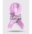 Breast cancer awareness ribbon art with typography vector image