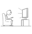 cartoon man sitting in armchair and watching vector image
