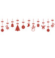 christmas hanging red ornaments isolated vector image vector image