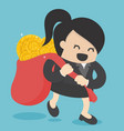 concept of success businesswoman holding a bag vector image vector image