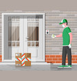 courier in medical mask and gloves delivers orders vector image