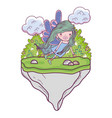 cute little fairy with butterfly wings character vector image