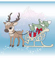 deer sled new year color set vector image