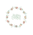 Easter wreath with stylized painted eggs isolated vector image